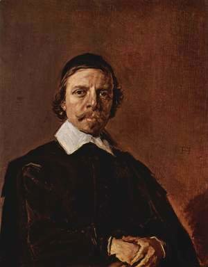 Frans Hals - Portrait of a man with Scheitelkäppchen, pointed collar and entangled hands
