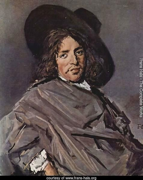 Portrait of a seated man with angular hat