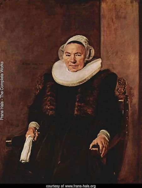 Portrait of a seated woman with white gloves in her right hand