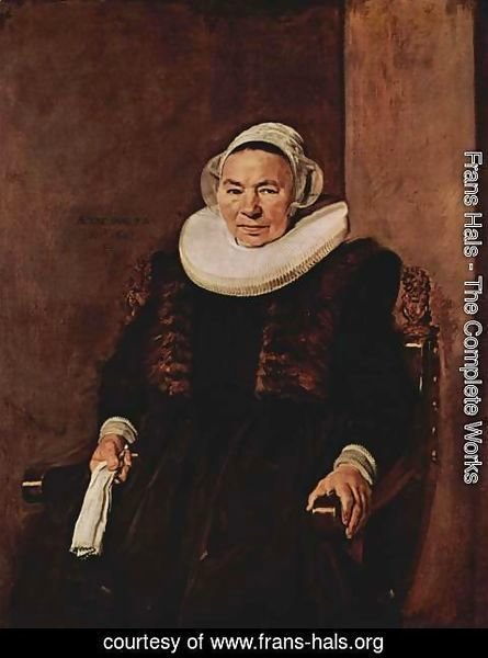 Frans Hals - Portrait of a seated woman with white gloves in her right hand
