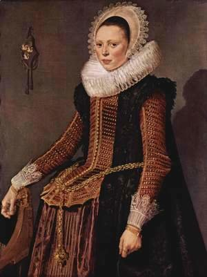 Frans Hals - Portrait of a woman with lace collar and hood