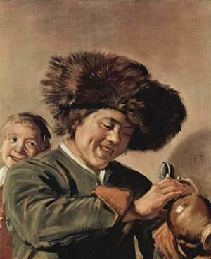 Frans Hals - Two smiling young men, with a beer mug