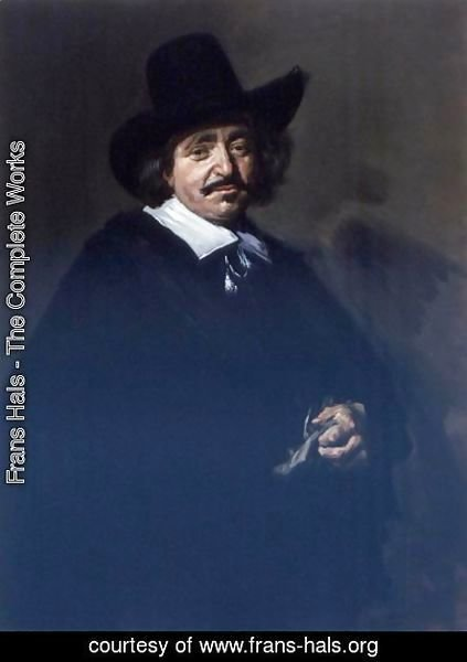 Frans Hals - Portrait Of A Gentleman, Three-Quarter Length, In A Black Coat And Cape With A Black Hat, Holding Gloves