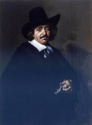 Portrait Of A Gentleman, Three-Quarter Length, In A Black Coat And Cape With A Black Hat, Holding Gloves