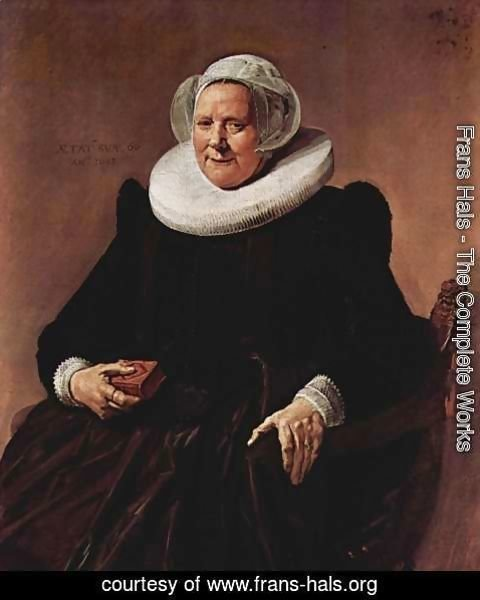 Frans Hals - Portrait of a sitting, sixty year old woman with book in his right hand