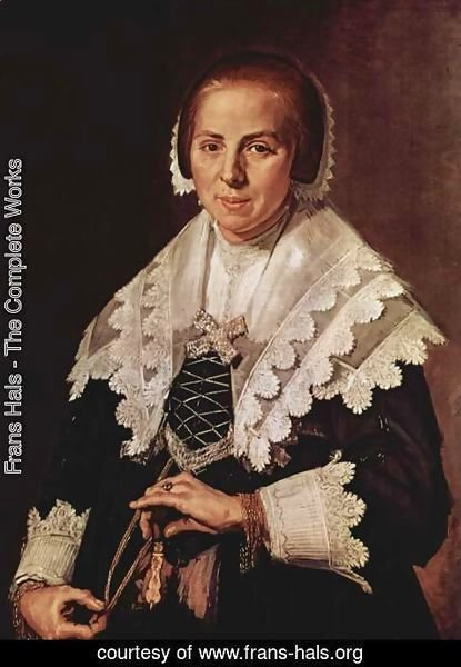 Frans Hals - Portrait of a standing woman with a fan in the left hand