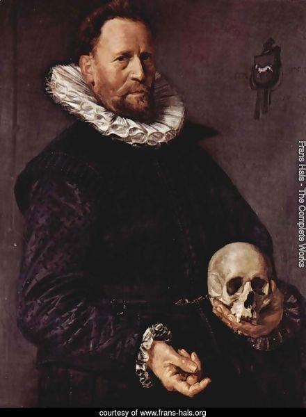 Portrait of a man with a skull in the left hand
