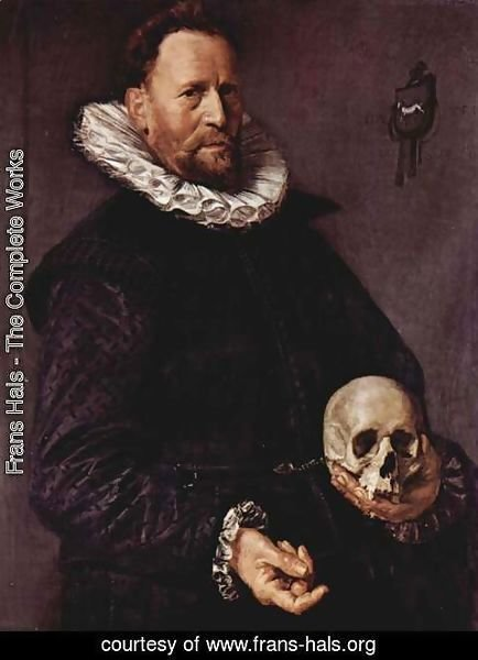 Frans Hals - Portrait of a man with a skull in the left hand