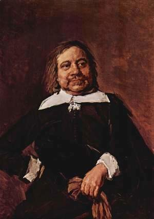 Frans Hals - Portrait of a man with a pointed collar, hips propped right hand and gloves in his left hand