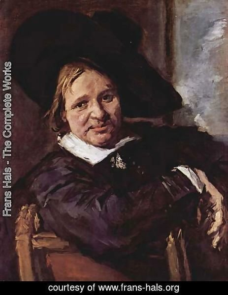 Frans Hals - Portrait of a seated man with slanted hat, his right arm on the chair