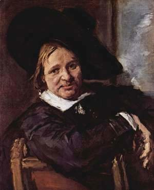 Portrait of a seated man with slanted hat, his right arm on the chair