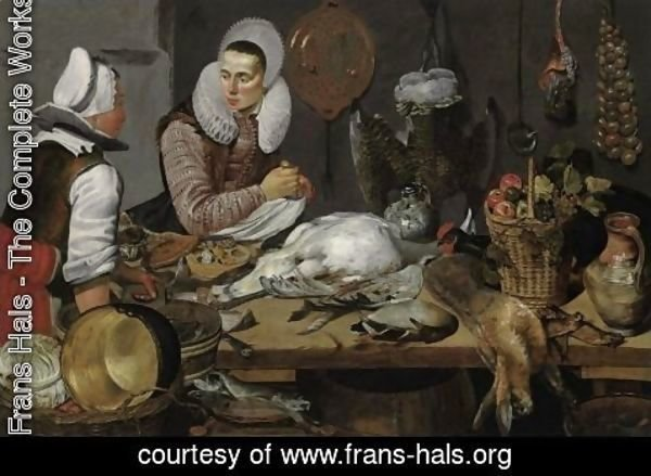Frans Hals - A Kitchen Interior with a Maid and a Lady Preparing Game