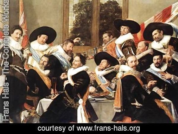 Frans Hals - Banquet of the Officers of the St Hadrian Civic Guard Company (2)  c. 1627