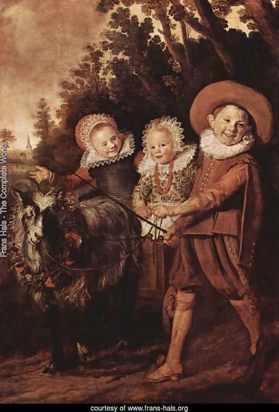 Three Children with a Goat Cart  1620